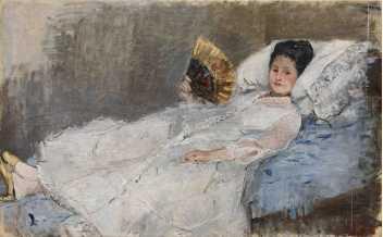 Berthe Morisot, Femme à l'éventail. Portrait de Madame Marie Hubbard, 1874, huile sur toile, 50,5 x 81 cm - © Ordrupgaard, Copen