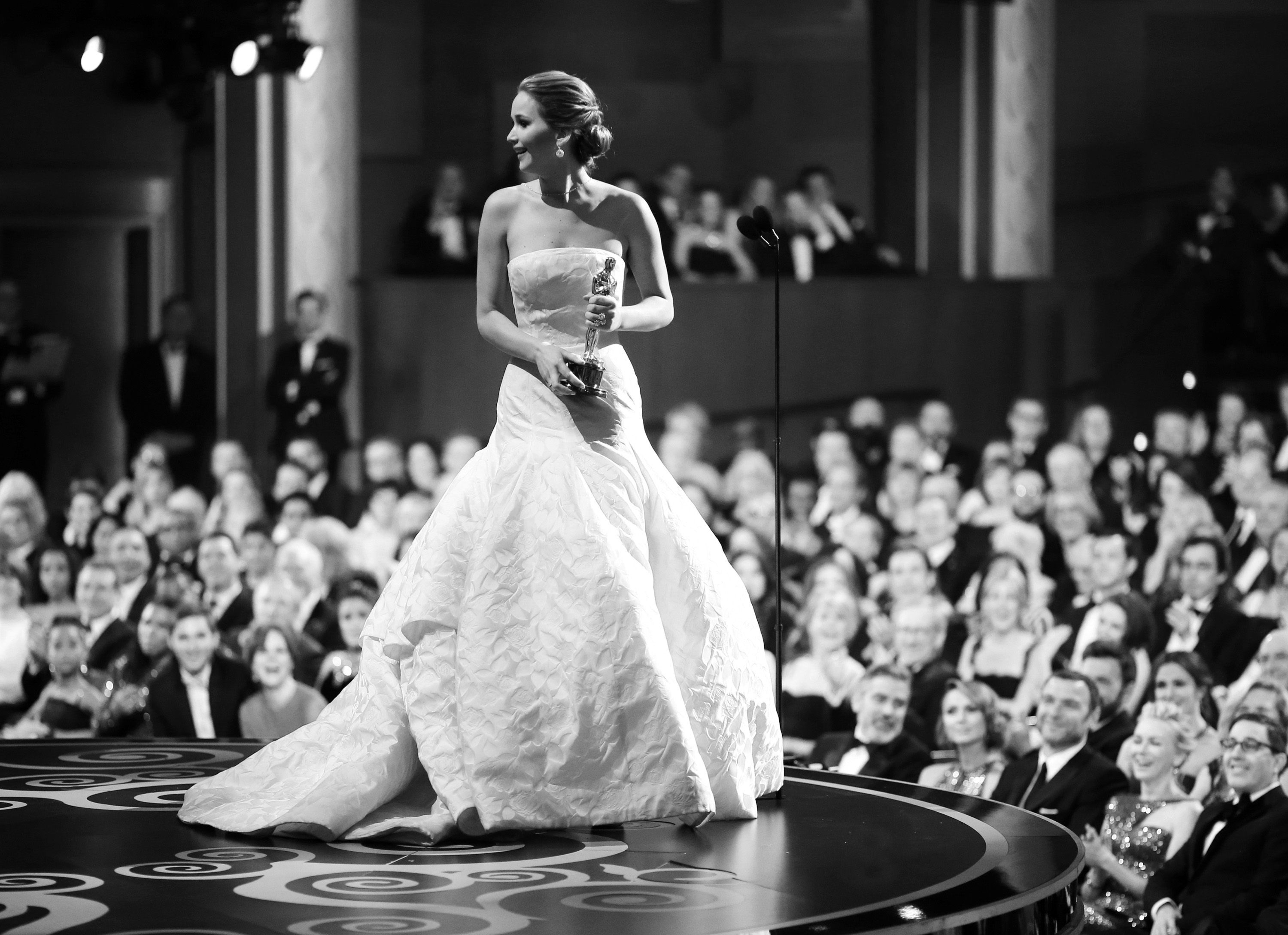 Christopher Polk, Jennifer Lawrence receiving the Academy Award for Best Actress for her role in Silver Linings Playbook, 2013 ©
