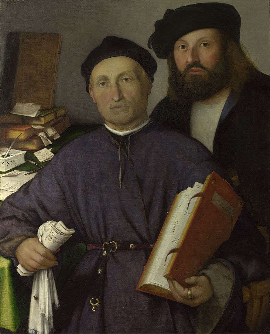 Lorenzo Lotto  The Physician Giovanni Agostino della Torre and his Son, Niccolò  Short title: Giovanni Agostino della Torre and his Son, Niccolò  about 1513-16  Oil on canvas  85 x 68.2 cm  © The National Gallery, London