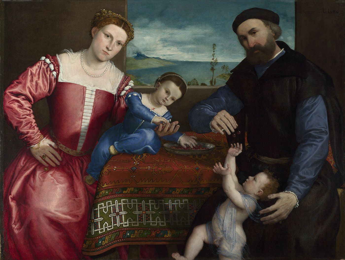 Lorenzo Lotto  Portrait of Giovanni della Volta with his Wife and Children  completed 1547  Oil on canvas  104.5 x 138 cm  © The National Gallery, London