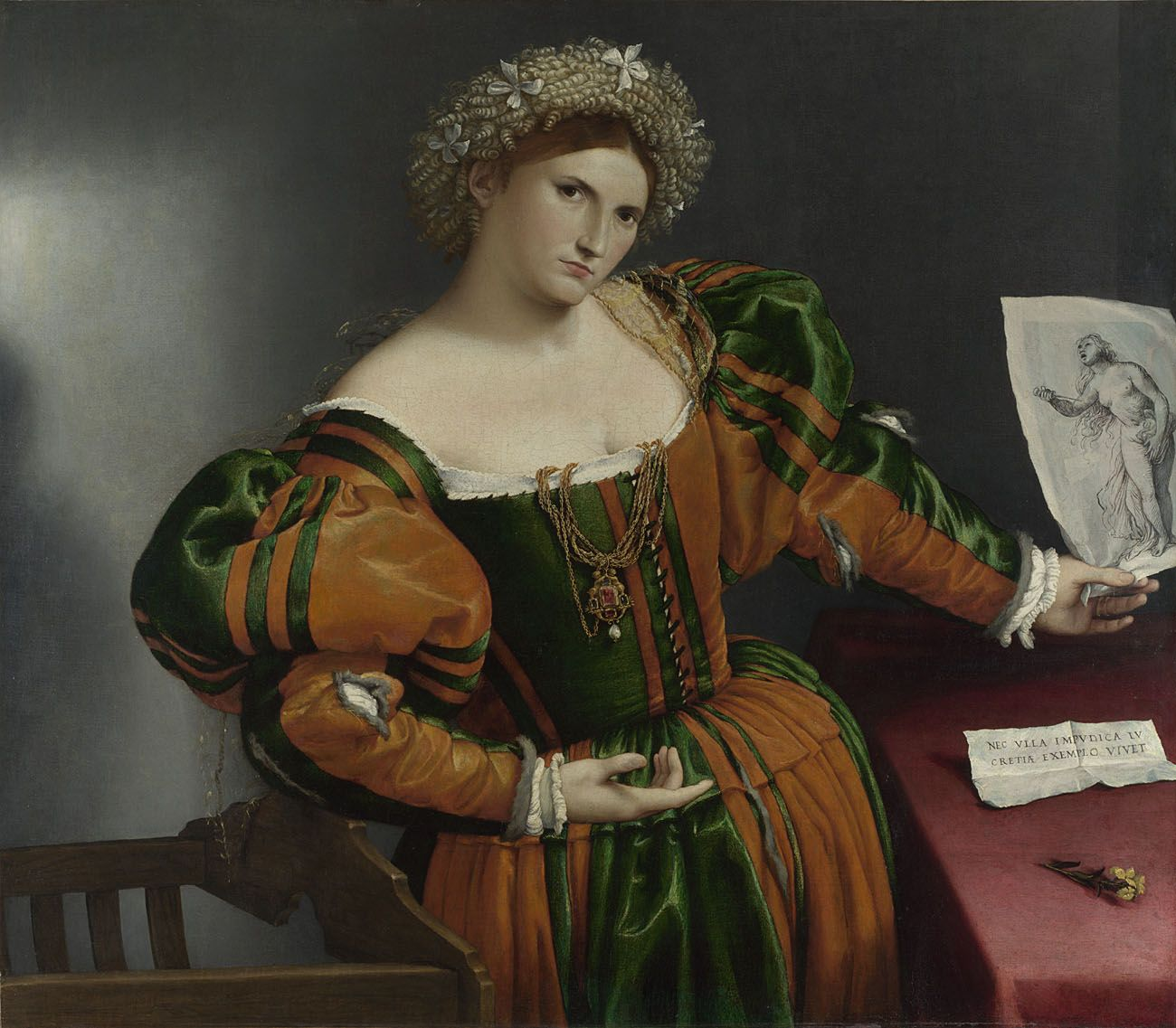 Lorenzo Lotto  Portrait of a Woman inspired by Lucretia  about 1530-2  Oil on canvas  96.5 x 110.6 cm  © The National Gallery, London