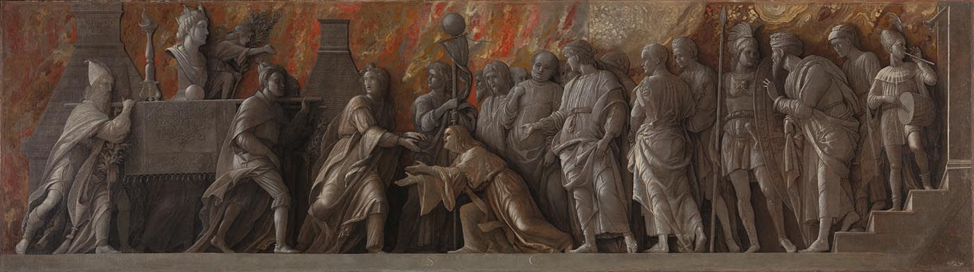 Andrea Mantegna  The Introduction of the Cult of Cybele at Rome  1505-6  Glue on linen  76.5 x 273 cm  © The National Gallery, London