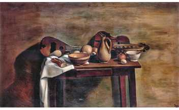 André Derain La Table garnie, c.1922 Oil on canvas, 97×162cm Musée d'Art Moderne, Troyes. Collections Nationales Pierre et Denise Lévy inv. MNPL 126 Foto © RMN-Grand Palais/Gérard Blot © André Derain, VEGAP, Madrid 2018