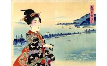 """Yōshū Chikanobu (1838-1912) Tango Ama no Hashidate""""Ama no Hashidate nella provincia di Tango"""""""
