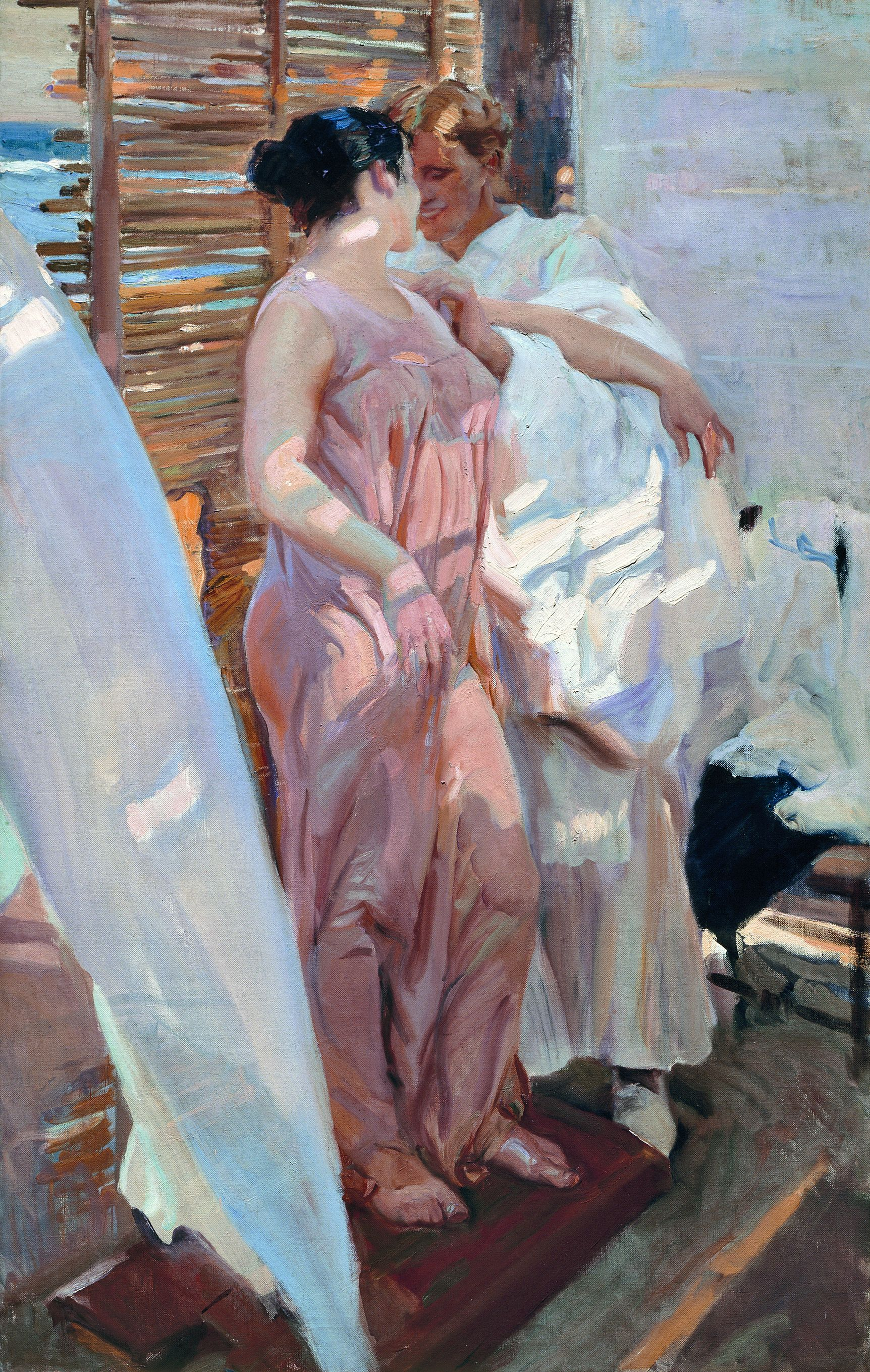 Joaquín Sorolla, The Pink Robe (La bata rosa), 1916, Oil on canvas, 208 × 126.5 cm, © Museo Sorolla, Madrid