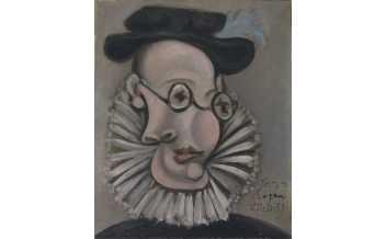 Pablo Picasso, Portrait of Jaume Sabartés with Ruff and Cap, Royan, 22 Oct.1939. Donation Jaume Sabartés, Museu Picasso, Barcelona.  Photo: Gasull Fotografia ©Succession Pablo Picasso, VEGAP, Madrid 2018