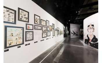 Scénographie de l'exposition Hugo Pratt, lignes d'horizons photo Bertrand Stofleth, musée des Confluences