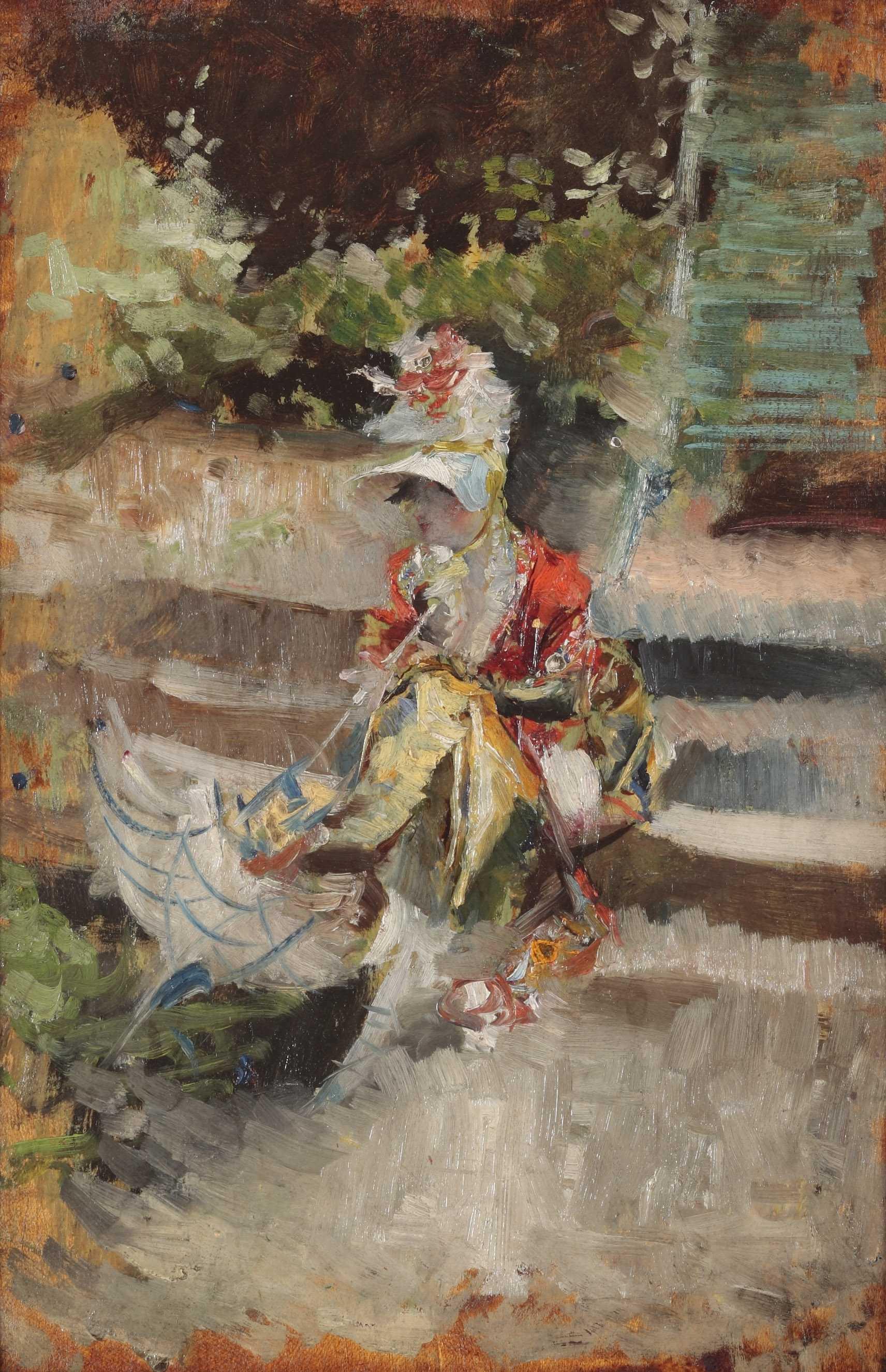 Giovanni Boldini, Berthe con capellino di paglia, c. 1872 Óleo sobre lienzo Colección Palazzo Foresti, Carpi