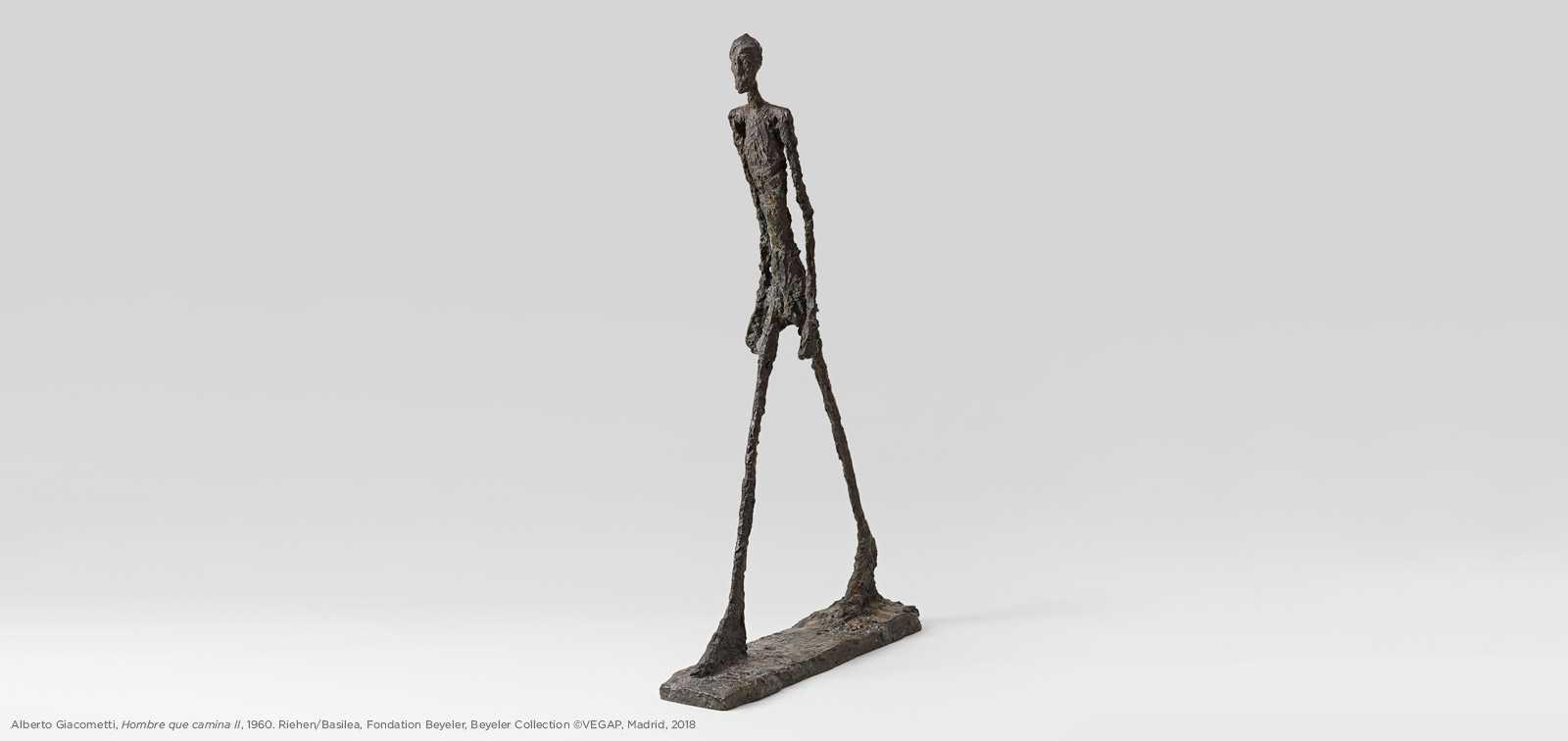 © Alberto Giacometti. Hombre que camina II. 1960. Riehen/Basilea, Fondation Beyeler, Beyeler Collection. VEGAP Madrid 2018