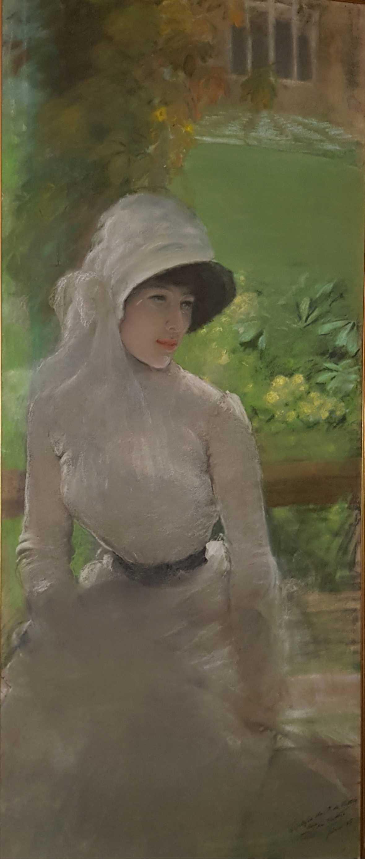 Giuseppe de Nittis Signora in giardino, (Dama en el jardín) v.1880 Pastel sobre lienzo 140 x 60 x 4 cm Colección particular, Turín.