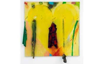 Putney Winter Heart (Crazy Leon), 1971-1972, acrylic on canvas and objects ©Yves Bresson, Musée d'art moderne et contemporain de Saint-Etienne Métropole