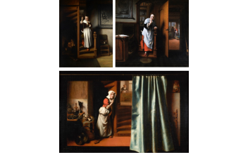 Nicolaes Maes, The Listening Housewife (1655) © Her Majesty Queen Elizabeth II 2020; The Eavesdropper (about 1656) © Historic England Photo Library; The Eavesdropper (1655) © Guildhall Art Gallery, City of London