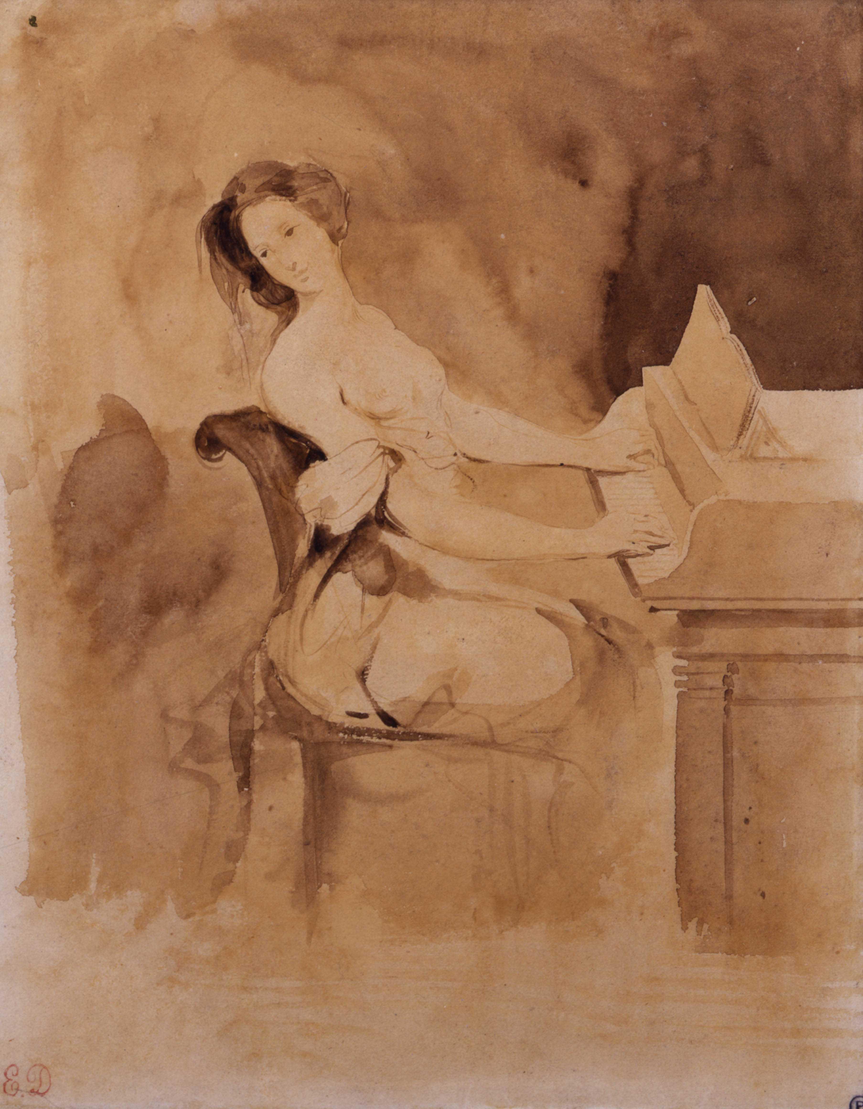 Eugène Delacroix, L'amoureuse au piano, XIXe siècle. Pinceau et lavis brun, 21,8 x 17,5 cm, Collection Prat.