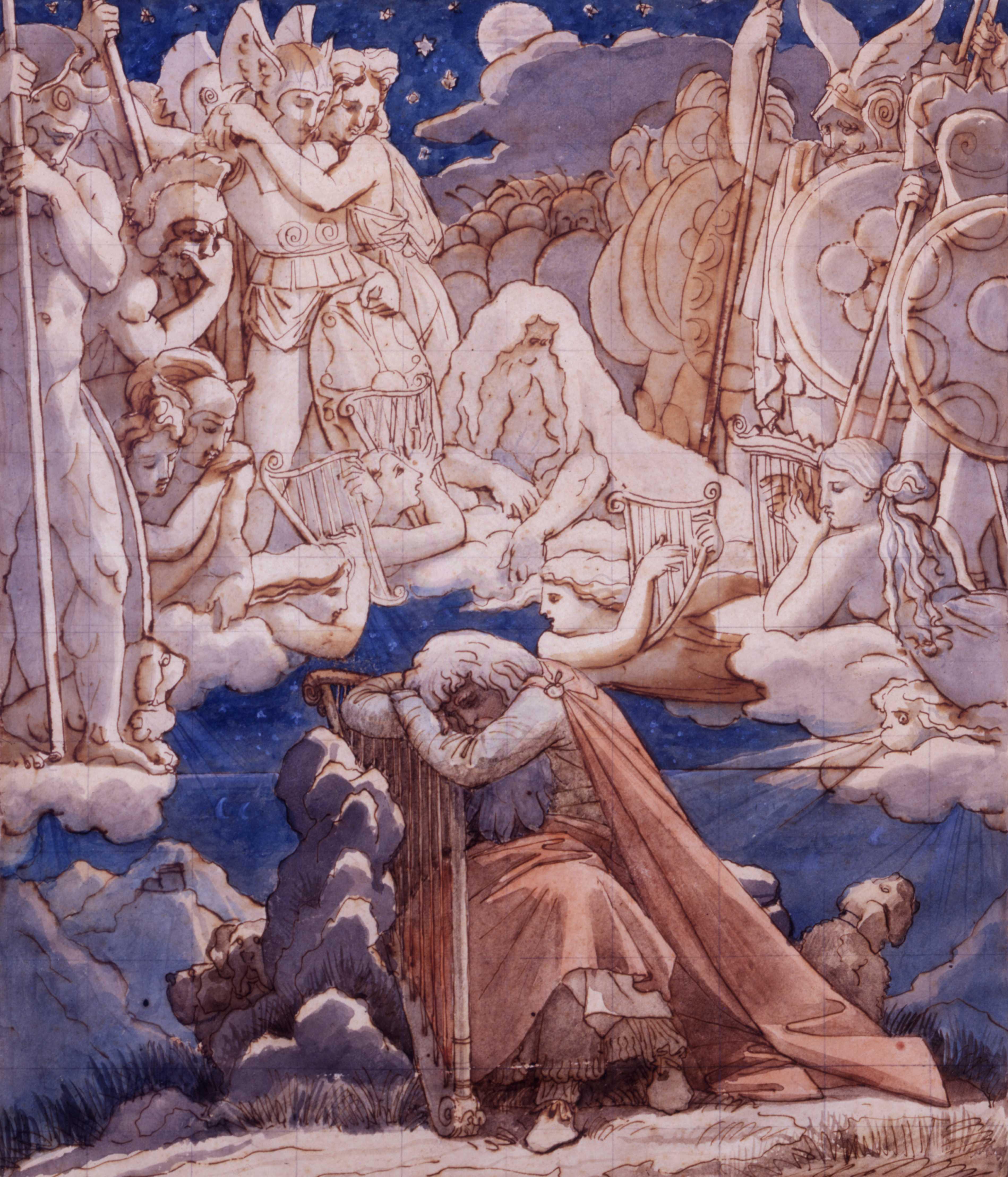 Ingres, Songe d'Ossian, XIXe siècle. Plume et encre brune, aquarelle, mis au carreau à la pierre noire, 30,5 x 30,2 cm, Collection Prat.