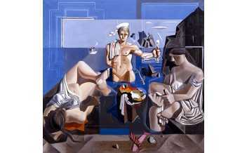 """Composition with Three Figures. """"Neo-cubist Academy"""", 1926 oil on canvas, 190 x 200 cm © Museu de Montserrat, Montserrat"""