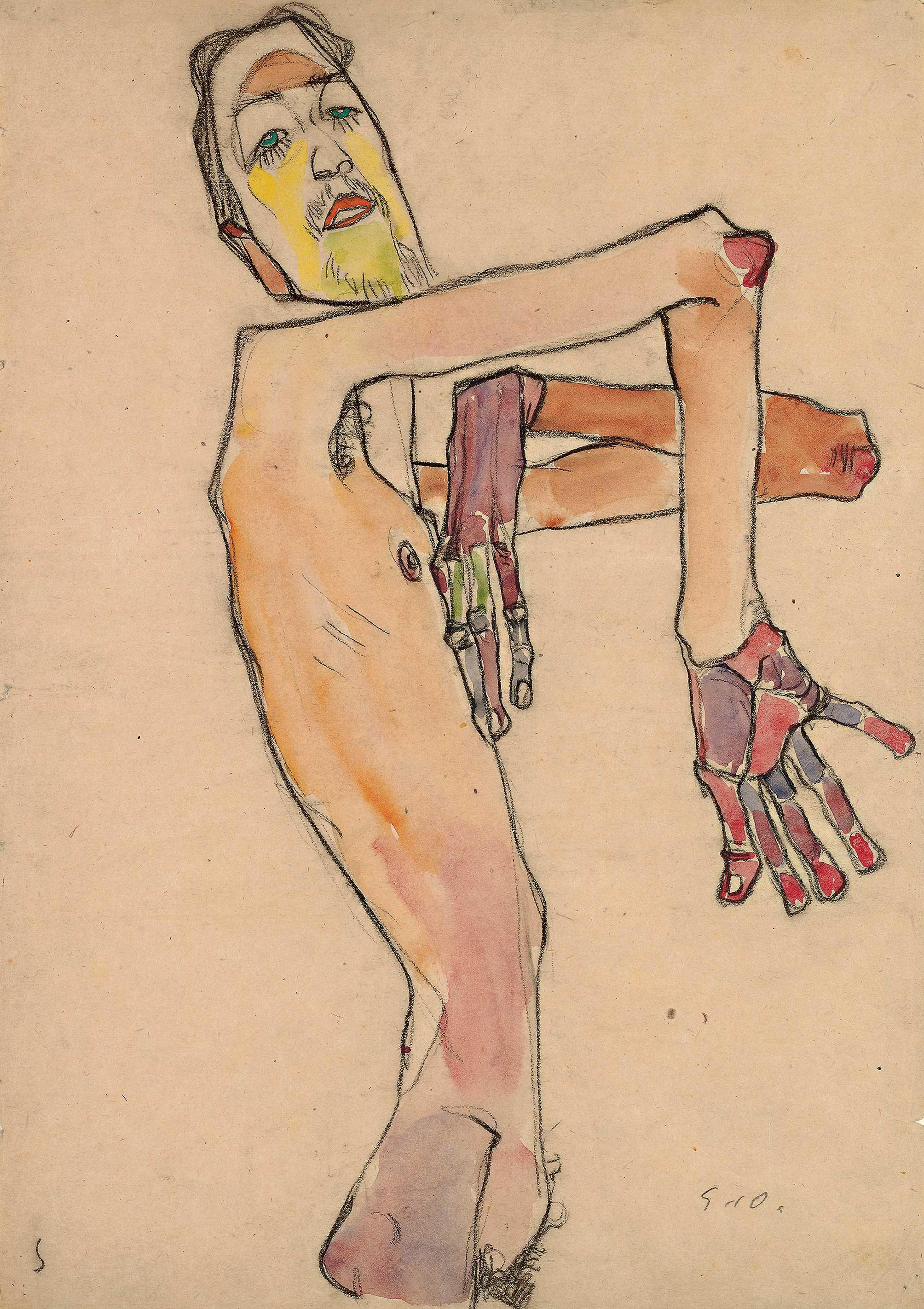EGON SCHIELE Erwin Dominik Osen als Akt mit überkreuzten Armen, 1910 © Leopold Museum, Wien Foto: Leopold Museum, Wien/ Manfred Thumberger
