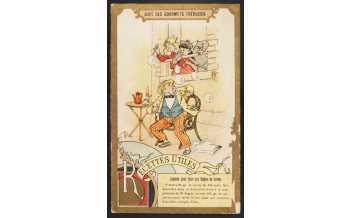 """Carte réclame """"Liquide pour faire des bulles de savon"""", Paris, fin du XIXe siècle - début du XXe. Chromolithographie. Mucem © Mucem"""